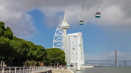Lisbon parque das nacoes nations park Vasco da Gama tower bridge Myriad hotel Footage