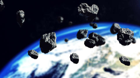 Asteroids and The Earth planet Animation