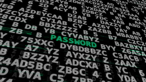 Cyber security. Password. Top Security. Secret code Animation