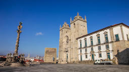 Porto Cathedral Se See square pillory medieval tower oPorto panning panorama Footage