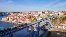Porto metro subway trains crossing over Dom Luis I bridge Ribeira Douro oporto Footage
