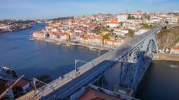 Porto pedestrians pedestrian people crossing over Dom Luis I bridge Ribeira Footage