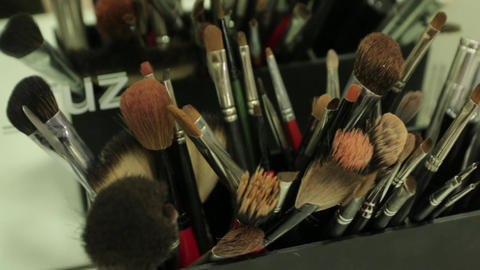Set Of Makeup Brushes 01 Footage