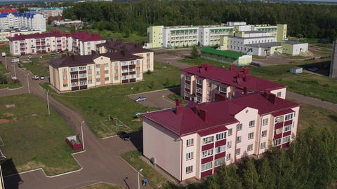 Sunny Town White Three-storey Apartment Buildings Upper View Footage