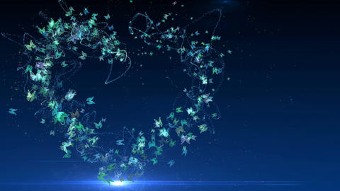 Animation heart made of blue butterflies Animation