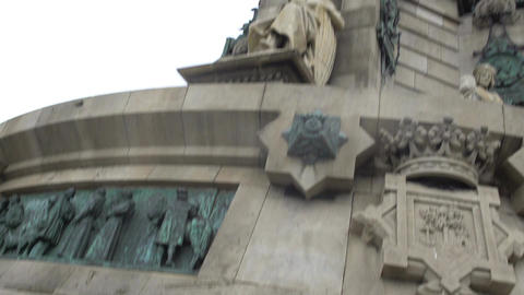 Columbus Monument in Spain, statues and bronze bas-relief details on pedestal Footage