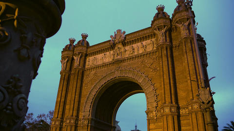 Arc de Triomf gate in Barcelona, sightseeing tour around Spain, Spanish landmark Footage