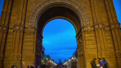 Ancient ornamented arch construction, tourist attraction, sightseeing tour Live Action