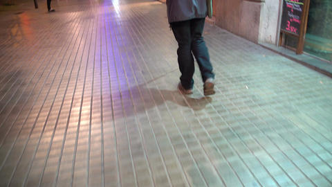 Blind man walking street with long white cane, visual impairment, eyesight loss Footage