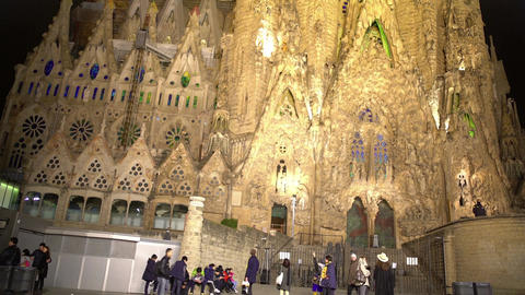 Sagrada Familia church, Gaudi design, UNESCO World Heritage site, architecture Footage