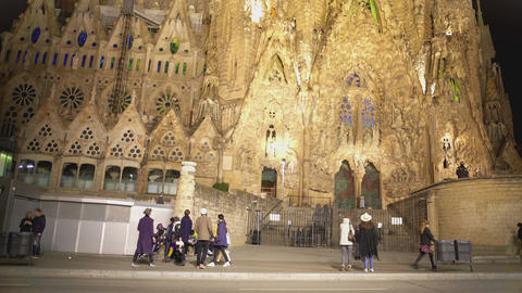 Excited people looking at amazing architecture of Gaudi's Sagrada Familia church Footage