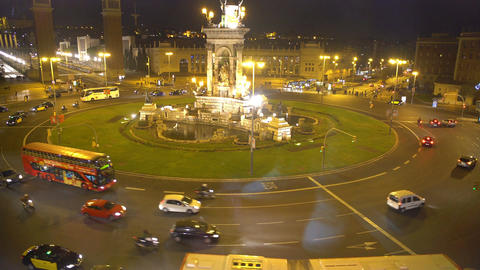 Beautiful night view of central square in Barcelona, fountain on Plaza de Espana Footage