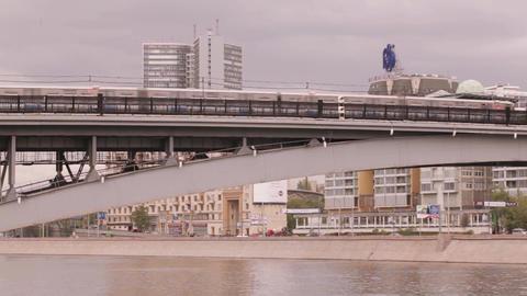 Railway bridge over the river Footage