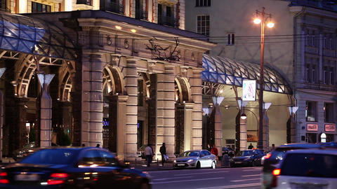 Evening traffic on one of the central streets in Moscow Footage