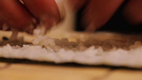 Preparing sushi rolls at home Footage