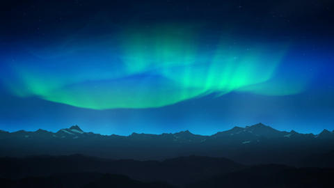 Green aurora over night mountains loop Animation