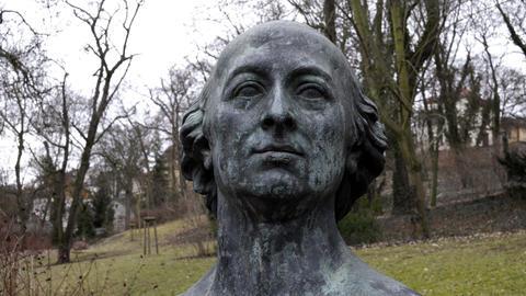 Johann Friedrich Reichard Bust in Halle Germany Garden Footage