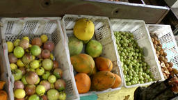 Malaysia Penang island 061 baskets full of tropical fruits Footage