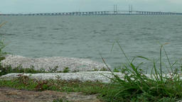"Malaysia Penang island 065 famous "" Penang Bridge "" from far away Footage"