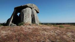 Dolmen ruins tomb prehistoric pagan grave Portugal stoneage stone age ruin Footage