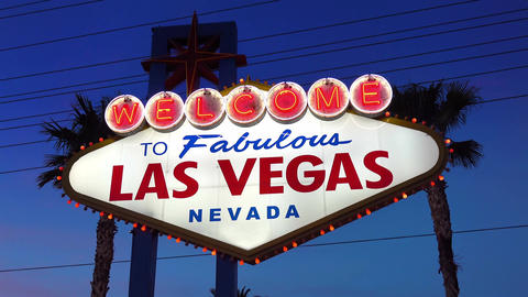 Video of welcome to fabulous Las Vegas Sign at night in 4K Footage