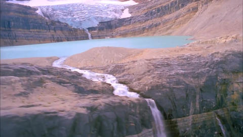 View Vodopvd Below. Waterfall Flows From a Large Lake and Descends Down the High Footage