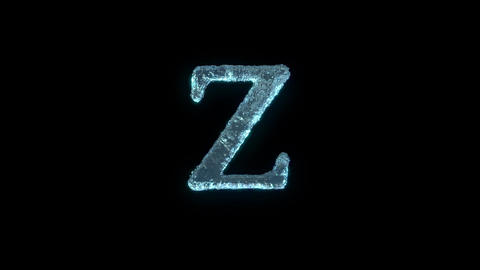 The Letter Z Of Ice Isolated On Black With Alpha Matte Animation
