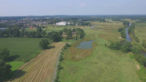 Aerial shots of Dutch small river Footage