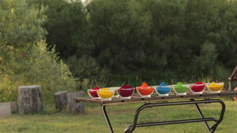 Holi Colored Powder In Bowls long shot 01 Footage