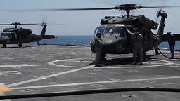 U.S. Army UH-60 Black Hawk helicopters and AH-64D Apache helicopters Footage