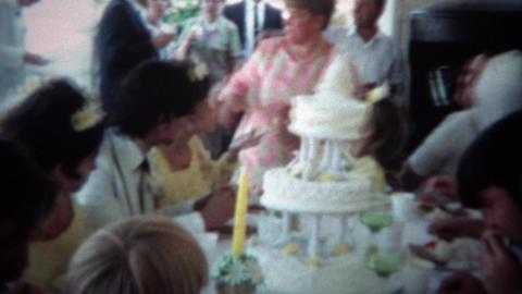 1966: Wedding reception party groom and bride kiss at outdoor table. CINCINNATI, Footage