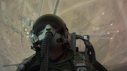 F-16 pilot view from cockpit as he deploys flares Footage