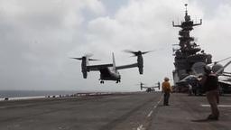 V22 Osprey lands, Aircraft flight operations aboard the USS Iwo Jima Footage