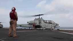 Cobra Helicopter, Aircraft flight operations aboard the USS Iwo Jima Footage