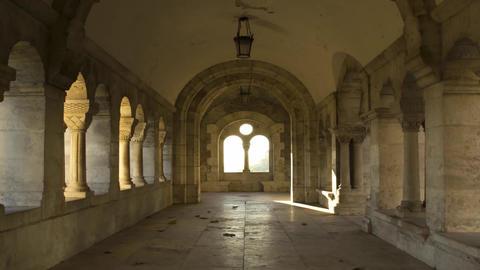 Passage With Columns Budapest. Room in Budapest. Mramornaya Floor Tiles. the Sid Footage