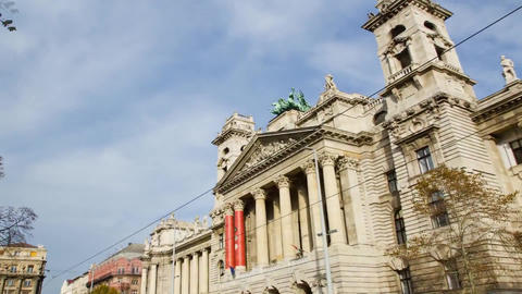 Architecture Budapest. View of the Building With Three Large Domes. Green Front  Footage