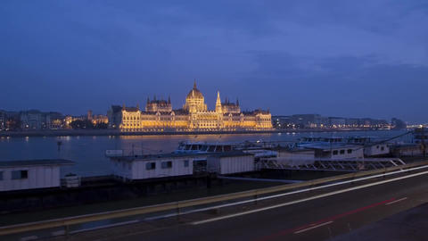Type in a Night-Time Hungarian Parliament Building - the Residence of the Hungar Footage
