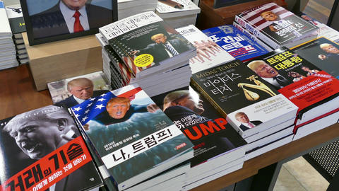 Books On US President Donald Trump In Seoul Bookstore Footage