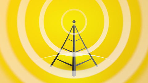 radio transmitters with waves and signals Animation