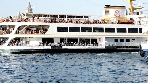 Galata Tower And Bridge Sea And Passengership istanbul turkey Footage