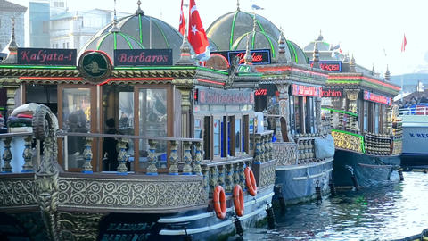 Istanbul downtown, Eminonu district fish restaurants Footage