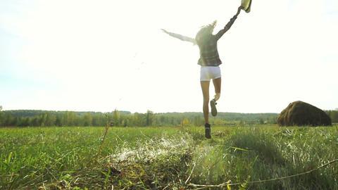 Pretty Girl Run Away In The Field Footage