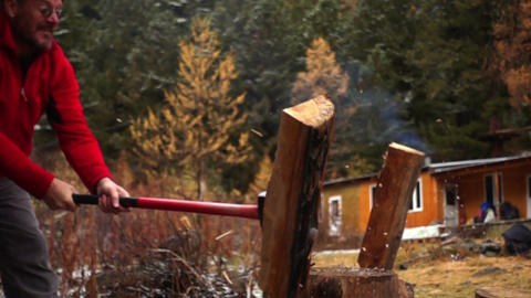 Man Chopping Wood Footage