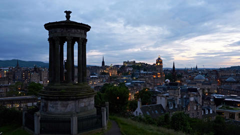 timelapse of sunset over Edinburgh, Scotland Footage