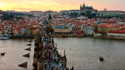 Charles bridge and Prague castle at evening Footage