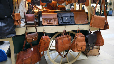 The shop with leather goods Footage