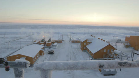Panorama Snowy Prefabricated Lodge for Worker in Yamal Footage