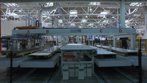 Panorama Impact on Conveyor Belt in Production Floor at the Factory Footage