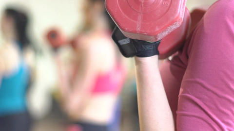 Young Women In Fitness Club Making Exercises With Dumbbells Footage
