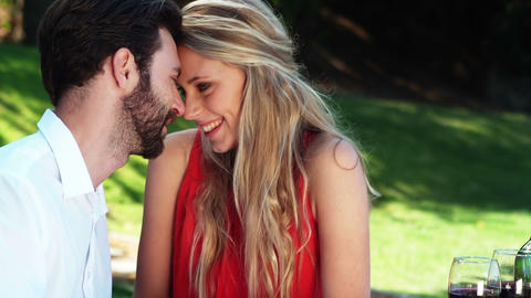 Smiling romantic couple looking face to face Footage